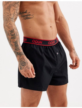 Hugo Bodywear Woven Boxers With Logo Waistband In Black by Hugo