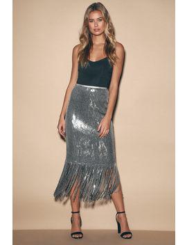 Toast To This Gunmetal Sequin Fringe Midi Skirt by Lulus