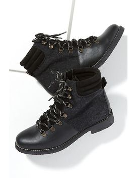 Wool Trimmed Leather Hiking Boots by Anthropologie