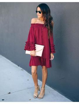 Fia Off The Shoulder Crinkle Satin Ruffle Dress   Burgundy by Vici