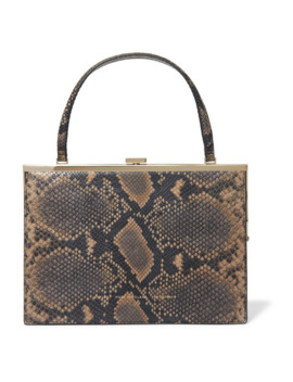 Snake Effect Leather Tote by Chylak