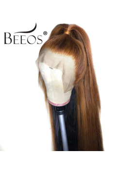 Beeos Brazilian Remy Hair 13*6 Deep Part Lace Front Wig Straight Honey Blonde Color Pre Plucked Bleached Knots Lace Wigs by Ali Express.Com