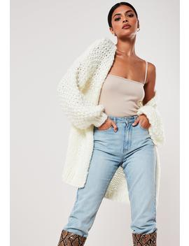 Premium Cream Chunky Knit Cardigan by Missguided