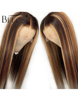 13*6 Deep Part Lace Front Human Hair Wig Straight Highlight Color Hair Pre Plucked Hair Line Bleached Knots Brazilian Remy Hair by Ali Express.Com