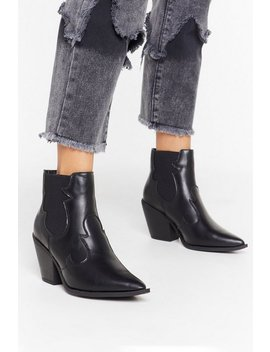 You Deserve The West Faux Leather Ankle Boots by Nasty Gal