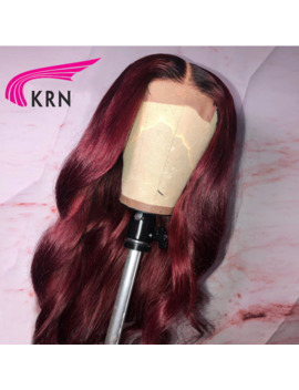 Krn 1b/99j Wavy 13x6 Lace Front Human Hair Wigs Pre Plucked Lace Front Red Burgundy Fashion Remy Brazilian Wig For Women by Ali Express.Com