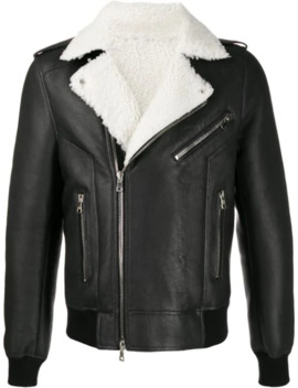 Shearling Leather Biker Jacket by Balmain