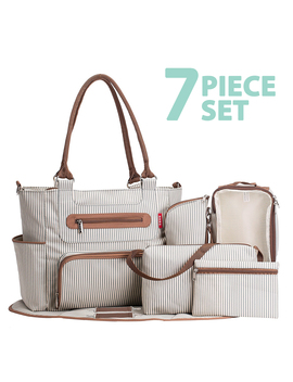 Soho Diaper Bag, Grand Central Station, Stripe (7 Piece Set) by Soho Designs