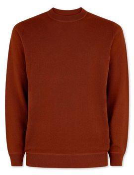 Burnt Orange Merino Cashmere Crew Neck Jumper by Charles Tyrwhitt