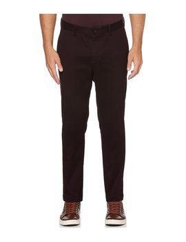 Slim Fit Flat Front Wrinkle Resistant Water Repellent Stretch Twill Pants by Perry Ellis
