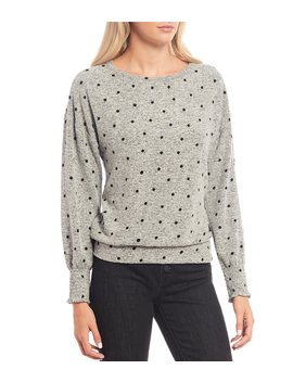Polka Dot Cloud Jersey Smocking Top by Lucky Brand