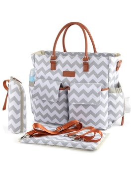 Kattee Chevron Diaper Bag Baby Nappy Tote Bag With Changing Pad & Bottle Holder Gray by Kattee