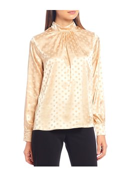 Rigel Ella Jacquard Dot Pleated Mock Neck Long Sleeve Blouse by Julie Brown