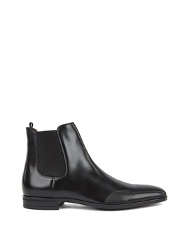 Chelsea Boots In Burnished Leather With Laser Cut Details Chelsea Boots In Burnished Leather With Laser Cut Details by Boss