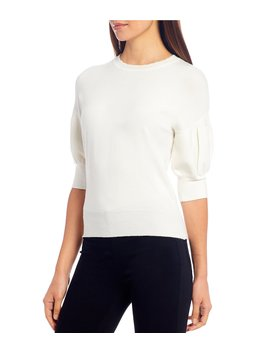 Meghan Scalloped Crew Neck Puff Sleeve Knit Top by Ella Moss
