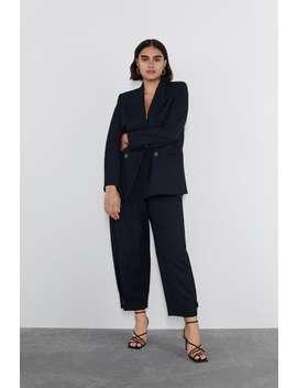 細條紋雙排扣西裝外套 by Zara