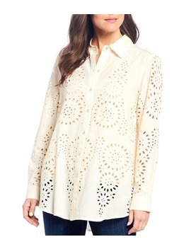All Over Cotton Eyelet Embroidery Button Front Long Sleeve Tunic by John Mark
