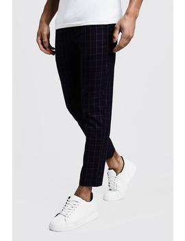 Windowpane Check Smart Cropped Jogger by Boohoo
