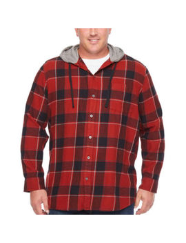 The Foundry Big & Tall Supply Co. Mens Hooded Neck Long Sleeve Flannel Shirt Big And Tall by The Foundry Supply Co.