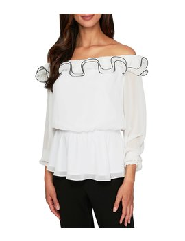 Contrast Ruffle Trim Off The Shoulder Blouse by Alex Evenings