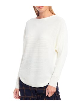 Boat Neck Fine Gauge Rib Knit Wool Blend Sweater by Chelsea & Violet