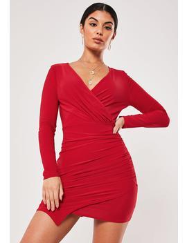Red Slinky Wrap Bodycon Mini Dress by Missguided