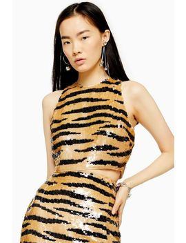 Tiger Sequin Crop Blouse by Topshop