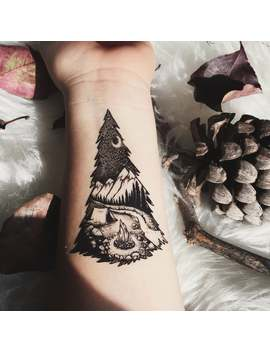 Camping In The Mountains, Pine Forest, Tent, Campfire, River Temporary Tattoo, Black Line, Nature Tattoo by Etsy