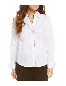 Leopard Trim Wrinkle Free Oxford Shirt by Calvin Klein
