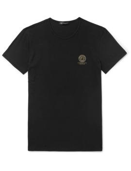 Slim Fit Logo Print Stretch Cotton Jersey T Shirt by Versace