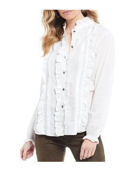 Apollo Ruffle Trim Button Front Peasant Cotton Shirt by Tasha Polizzi