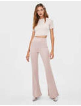Pantaloni Flare Cu Fir Metalizat by Bershka