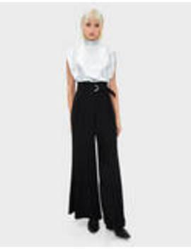Pantaloni Wide Leg Cu Curea by Bershka