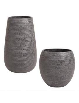 Black Ribbed Cement Sabrosa Outdoor Planter by World Market