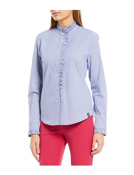 Clip Dot Ruffle Trim Buttondown Blouse by Court & Rowe