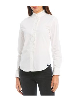 Long Sleeve Ruffle Trim Cotton Blend Poplin Button Front Shirt by Court & Rowe