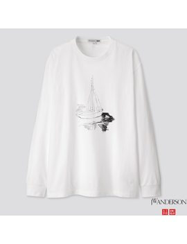 Men Jw Anderson Graphic Long Sleeved T Shirt by Uniqlo