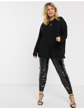 Asos Design Curve Longline Top With Long Sleeve In Textured Jersey In Black by Asos Design
