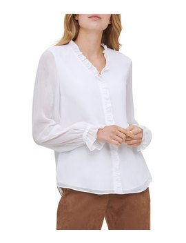 Crinkle Chiffon V Neck Ruffle Trim Long Sleeve Blouse by Tommy Hilfiger