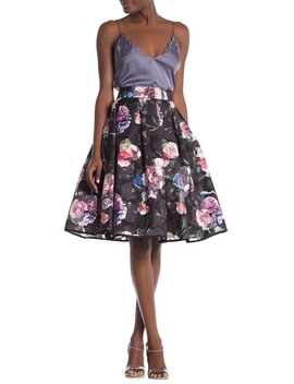Floral Organza A Line Skirt by Gracia