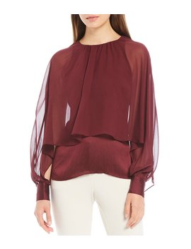Preston Sheer Batwing Balloon Sleeve Layered Blouse by Trina Turk