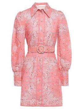 Heathers Printed Linen Mini Shirt Dress by Zimmermann