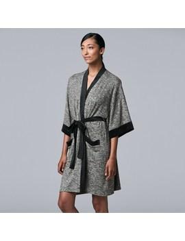 Women's Simply Vera Vera Wang 3/4 Sleeve Marled Jersey Robe by Simply Vera Vera Wang