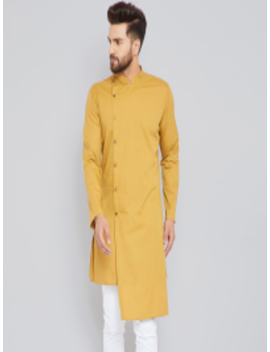 Men Mustard Solid Straight Kurta by See Designs