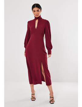 Wine High Neck Keyhole Puff Sleeve Midi Dress by Missguided