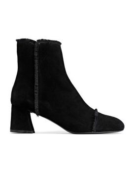 Fringe Trimmed Suede Ankle Boots by Stuart Weitzman