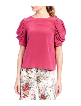 Claire Draped Puff Sleeve Silk Blouse by Antonio Melani
