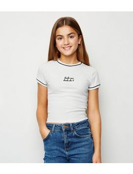 Girls White Kinda Care Slogan T Shirt by New Look