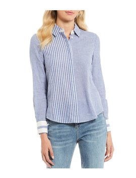 Classic Collared Button Down Stripe Cotton Shirt by A Loves A