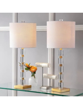 "Claire 28.5"" Crystal Led Table Lamp, Clear/Brass (Set Of 2) By Jonathan Y by Jonathan Y"